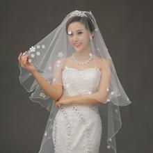 白色超赞新款长3米新娘拖尾结婚纱礼服车骨蕾丝韩式花瓣头纱