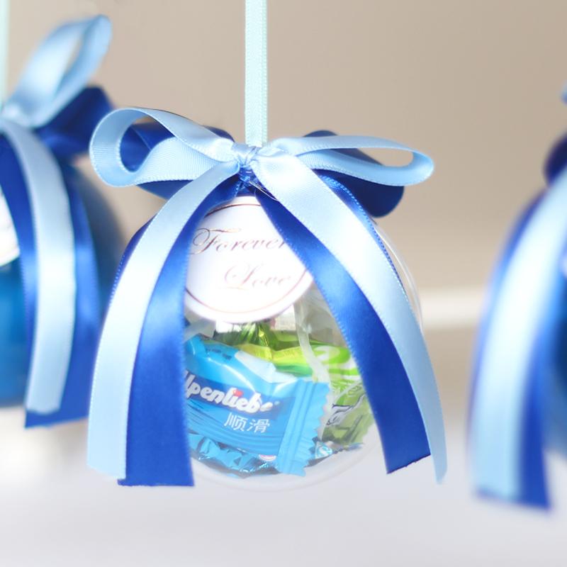 范妮范新品 海洋蓝色透明树脂球喜糖盒子婚礼用品个性
