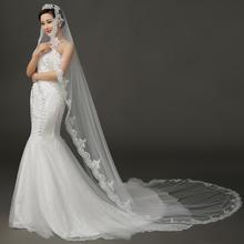 包邮新款白色超赞长3米新娘韩式车骨蕾丝花边拖尾头纱结婚纱礼服