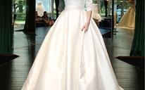 2016婚纱礼服新娘结婚冬季缎面中长袖一字肩拖尾韩式孕妇齐地