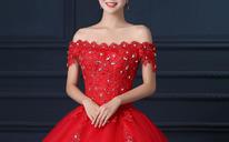 新款红色婚纱礼服新娘韩式大码显瘦一字肩齐地结婚婚纱