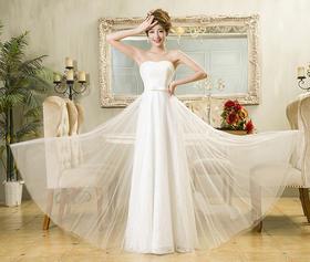 韩版长款晚礼服白色甜美蕾丝抹胸气质宴会长裙聚会年会酒会伴娘裙