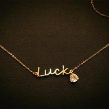 纯银锁骨链定制款 原创设计lucky爱心水晶项链