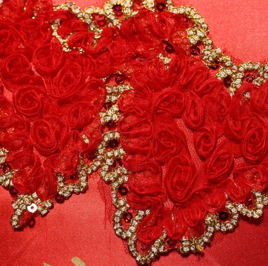 【包邮】蕾丝花边新大红色喜庆伴娘长柄婚礼工艺雨伞