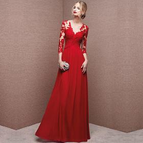 新款礼服七分袖V领新娘结婚礼服长款一字肩红色敬酒服晚