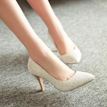 婚鞋尖头浅口红色新娘鞋子银色亮片高跟鞋夏伴娘鞋中跟金色单鞋女