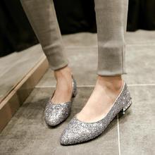 婚鞋夏秋季新款结婚鞋闪闪亮片银色金色尖头低跟方跟单鞋伴娘婚鞋