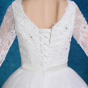 2016新款新娘蕾丝半袖绑带婚纱高腰孕妇婚纱礼服