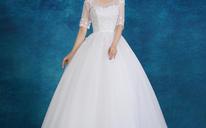 婚纱礼服2016新款韩式新娘大码一字肩中袖显瘦婚纱MK06