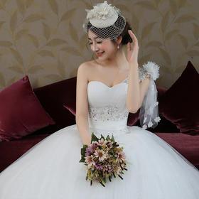 新款时尚单肩蕾丝公主简约齐地显瘦绑带新娘婚纱MH76