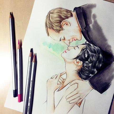 【高端定制】创意彩铅手绘画 个性请柬ppt必备