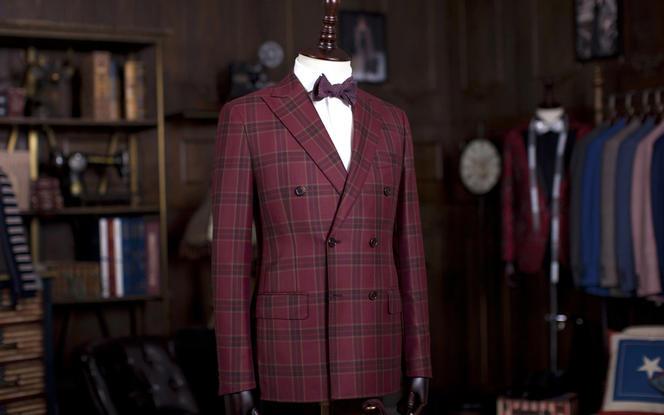 意大利杰尼亚羊毛面料 新款红色双排扣