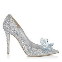 灰姑娘水晶鞋银色水钻婚鞋 新娘鞋尖头高跟鞋