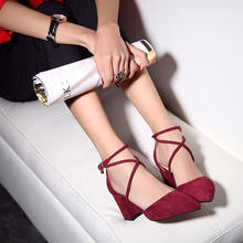 真皮磨砂交叉绑带搭扣婚鞋高跟粗跟尖头韩版性感单鞋宴会鞋