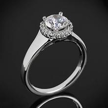 【呓人珠宝】光环直宽臂钻石戒指