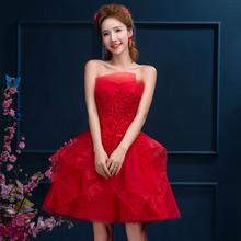 新娘敬酒服红色抹胸礼服裙时尚蕾丝宴会年会演出服蓬蓬