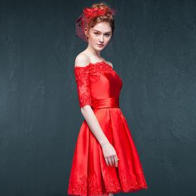 衣茉2016新款新娘敬酒一字肩短款中长袖晚礼服结婚伴娘服礼服