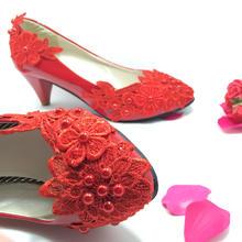 新款手工婚鞋水溶花贴珍珠同款式不同的跟高度选择全国包邮