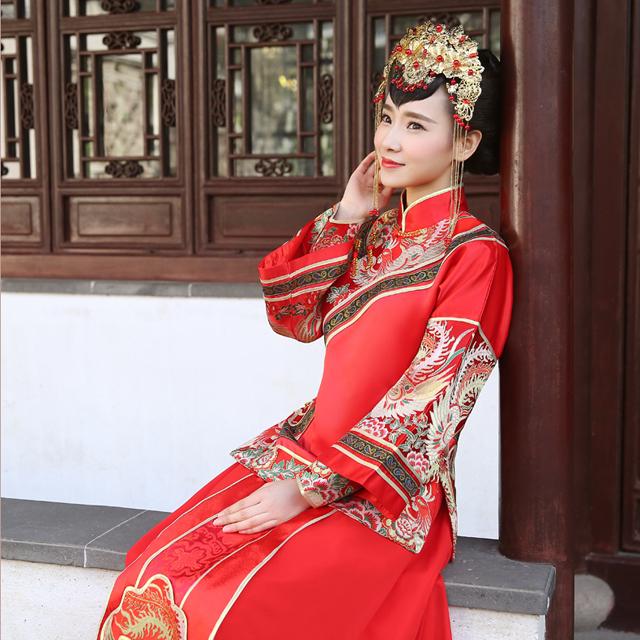 新娘金色古装头饰中式礼服龙凤褂秀禾服配饰结婚旗袍饰品