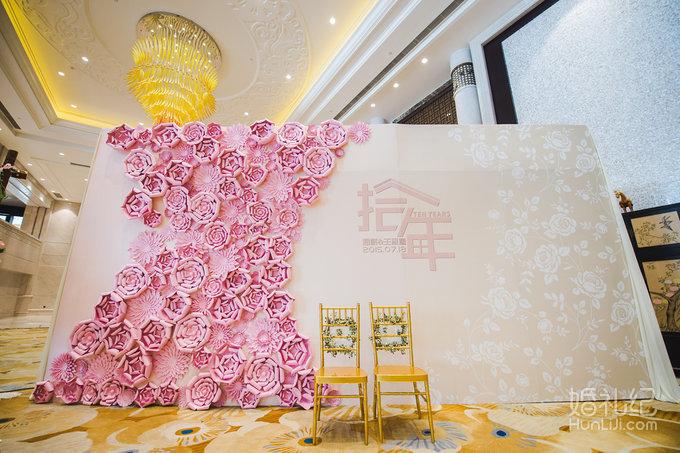 【婚礼迎宾区】粉色系手工纸花背景衬托出一颗美美哒的少女心
