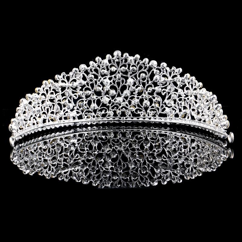 新款欧美新娘大皇冠白色水钻镀银镂空影楼婚礼发箍头饰