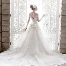 韩式v领一字肩拖尾公主新娘蕾丝婚纱礼服2017新款