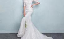 2016新款夏季一字肩中袖鱼尾小拖尾修身新娘结婚收腰显瘦