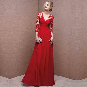 臻美嫁依|高定红色蕾丝敬酒服