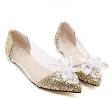 新款JC尖头水钻平跟女单鞋灰姑娘水晶透明休闲英伦低帮鞋-2