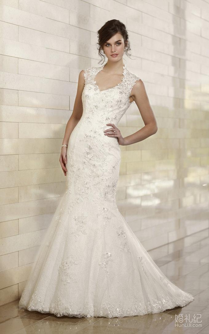 露背v领修身鱼尾,婚纱礼服设计作品欣赏,婚礼纪 hunli