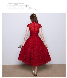 敬酒服新娘红色短款结婚晚礼服宴会中长款修身连衣裙女LF402