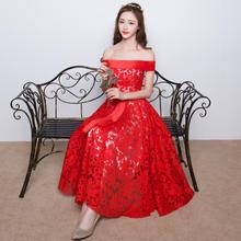 2016新款夏红色一字肩敬酒服中长款宴会晚礼服女LF400