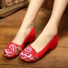 春夏新款秀禾鞋中式婚鞋如意盘扣牡丹刺绣亚麻鞋垫北京布鞋