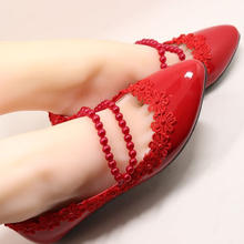 平底珍珠绑带性感蕾丝小花纯手工制作韩版时尚