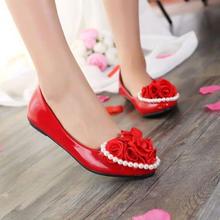 心形玫瑰花平底鞋新娘孕妇鞋平底大码鞋手工鞋