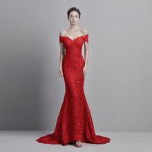 一字肩蕾丝红色鱼尾晚礼服宴会长礼服新娘结婚敬酒服拖尾迎宾绑带