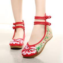 2016春夏新款圆头一字扣带低帮鞋红色刺绣婚鞋老北京布鞋女鞋