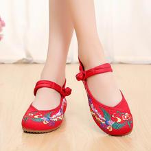 2016春夏新款厚底坡跟一字式扣带老北京布鞋民族风绣花鞋婚鞋