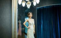 西班牙蕾丝唯美珠花修身鱼尾婚纱