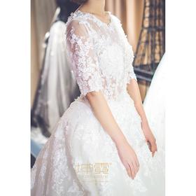 质感缎面柔美蕾丝大蝴蝶结拖尾公主婚纱