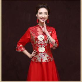 新款新娘敬酒旗袍礼服 红色长款晚礼服 宴会礼仪旗袍礼服演出服