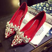 新款真皮水钻串珠新娘鞋细跟红色中式结婚鞋水晶鞋舒适平跟单鞋女