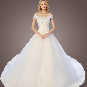韩式新娘蕾丝一字肩修身拖尾齐地公主婚纱礼服