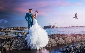 青岛罗薇摄影海景婚纱照5套服装5个景点纯外景拍摄