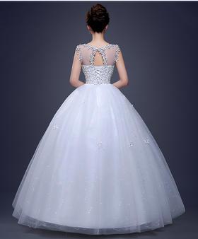 新娘新款婚纱齐地蕾丝新娘婚纱新款显瘦蓬蓬婚纱新娘仪式出门婚纱