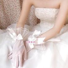 透纱蝴蝶结白色手套 新娘短款婚纱礼服全指薄纱手套 结婚配