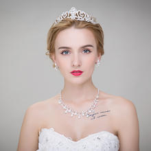 爱慕 新娘头饰皇冠项链三件套婚礼婚纱配饰韩式珍珠结婚装饰套装