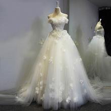 婚纱礼服新娘结婚一字肩长拖尾婚纱花朵显瘦蕾丝奢华高端定制