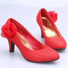 韩版婚鞋 中跟婚鞋 红色金色婚鞋 大码结婚鞋子 新娘鞋201