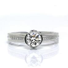 【谛珂珠宝】白18k金结婚戒指钻石女戒空托戒托